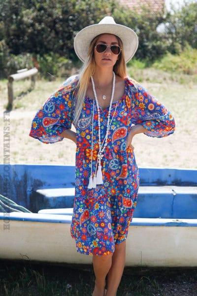 Robe-bleu-roi-fluide-imprimé-hippie-coloré-c87