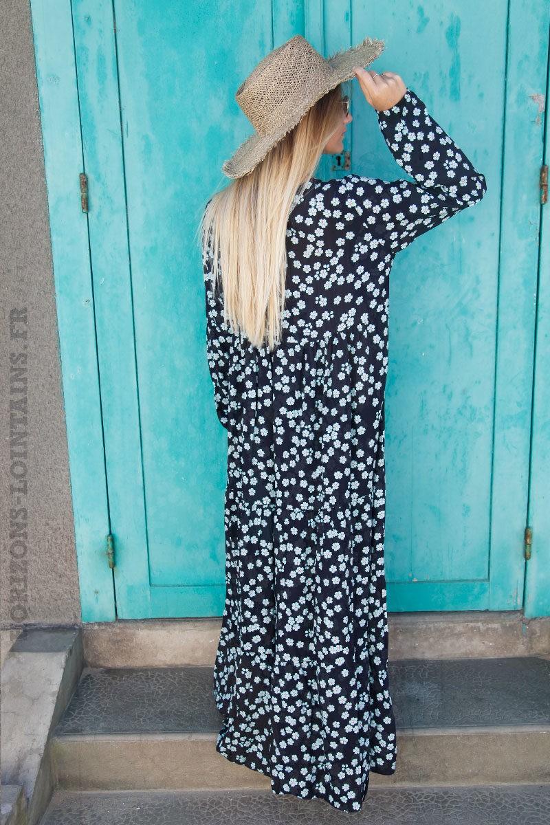 Robe-longue-bleu-marine-imprimé-fleurs-bleu--c71