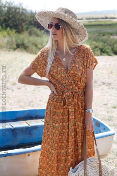 Robe-longue-orange-imprimé-fleurs-graphiques--c76