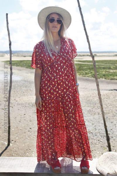 Robe-longue-rouge-fluide-imprimé-doré-et-fleurs-c85-10