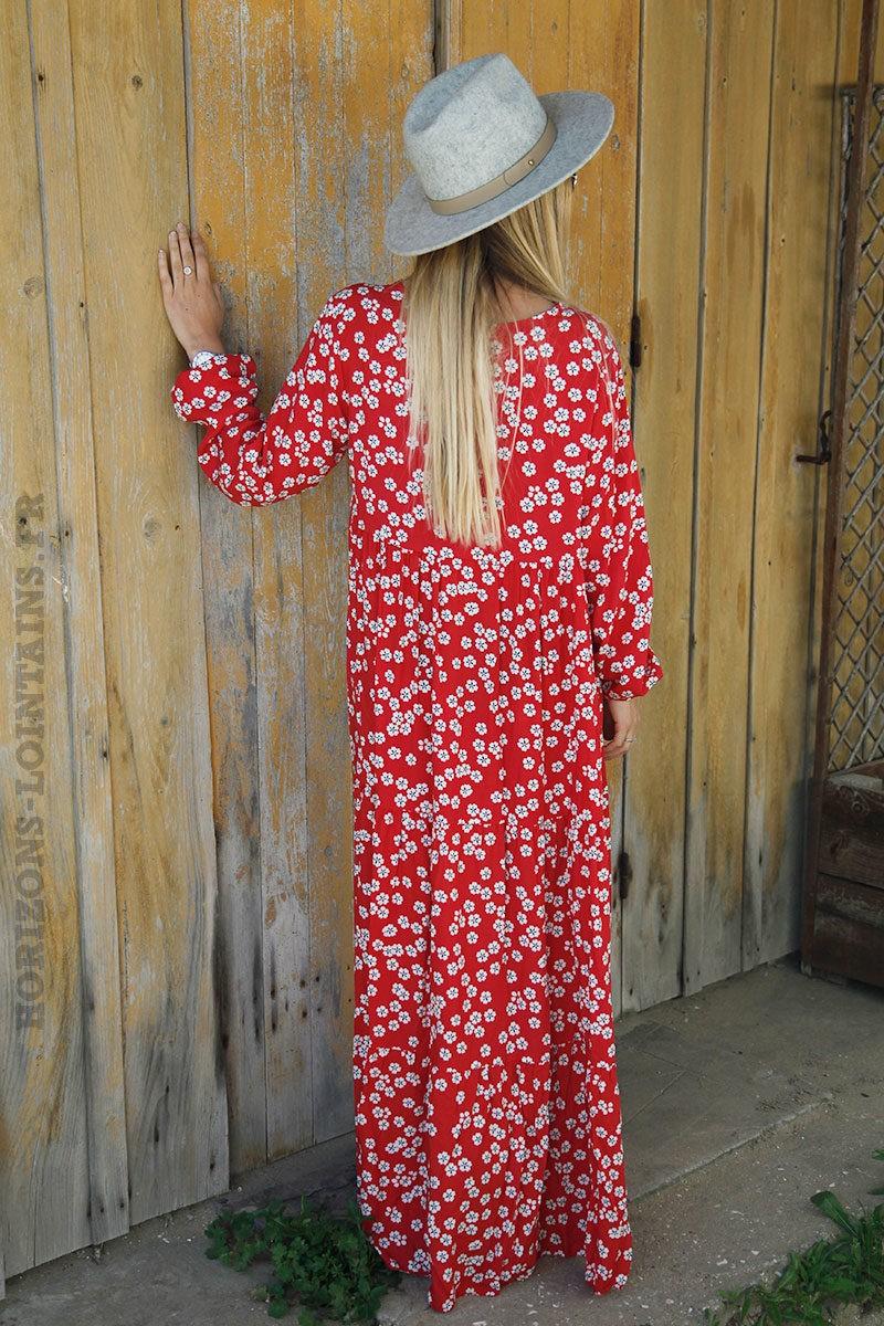 4545d1da907 Robe longue rouge imprimé fleurs blanche - Horizons Lointains