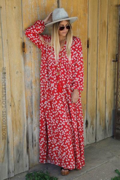Robe-longue-rouge-imprimé-fleurs-blanche-c71
