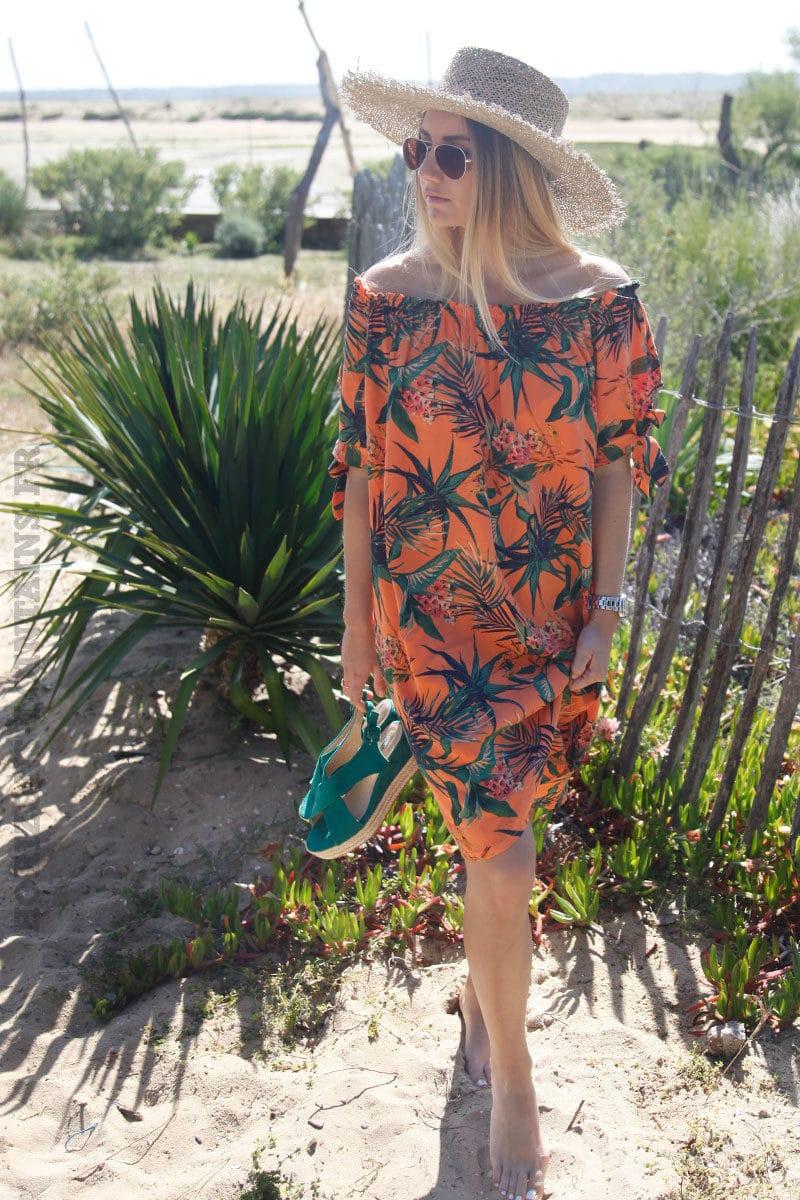Robe-orange-manches-courtes-avec-nœud-imprimé-tropical-c88-2