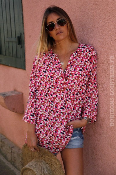 Tunique-rose-avec-imprimé--c128