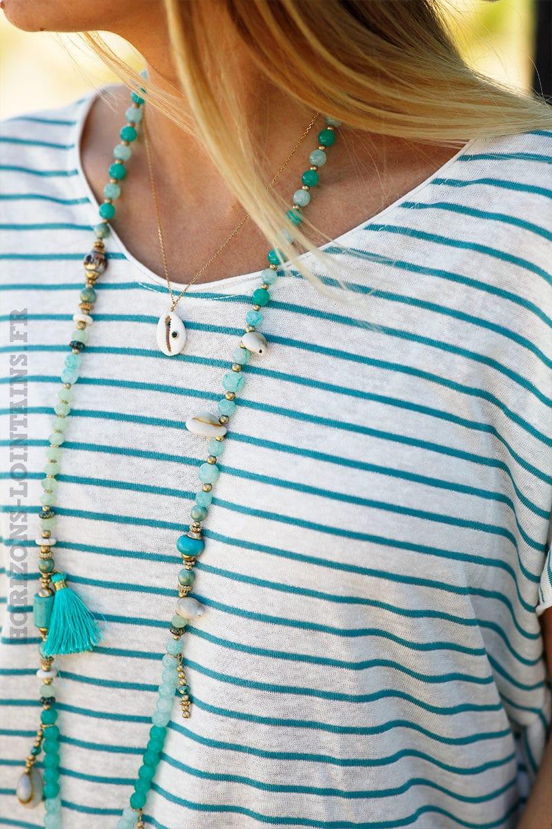 T-shirt-loose-marinière-turquoise-c139