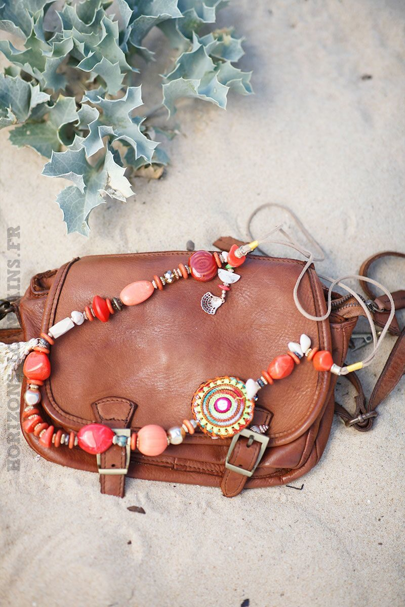 collier-orange-assortiment-perles-pierres-130