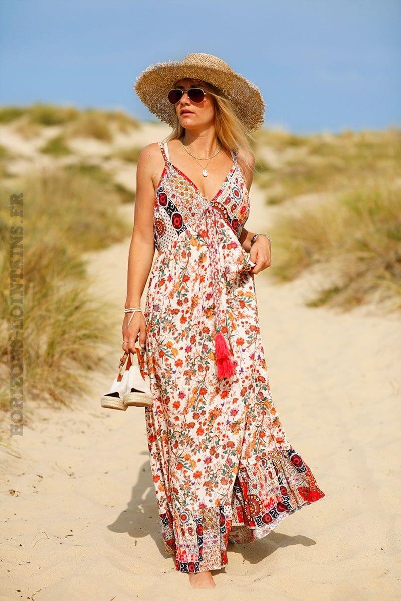 robe-longue-col-V-imprime-fleuri-C134