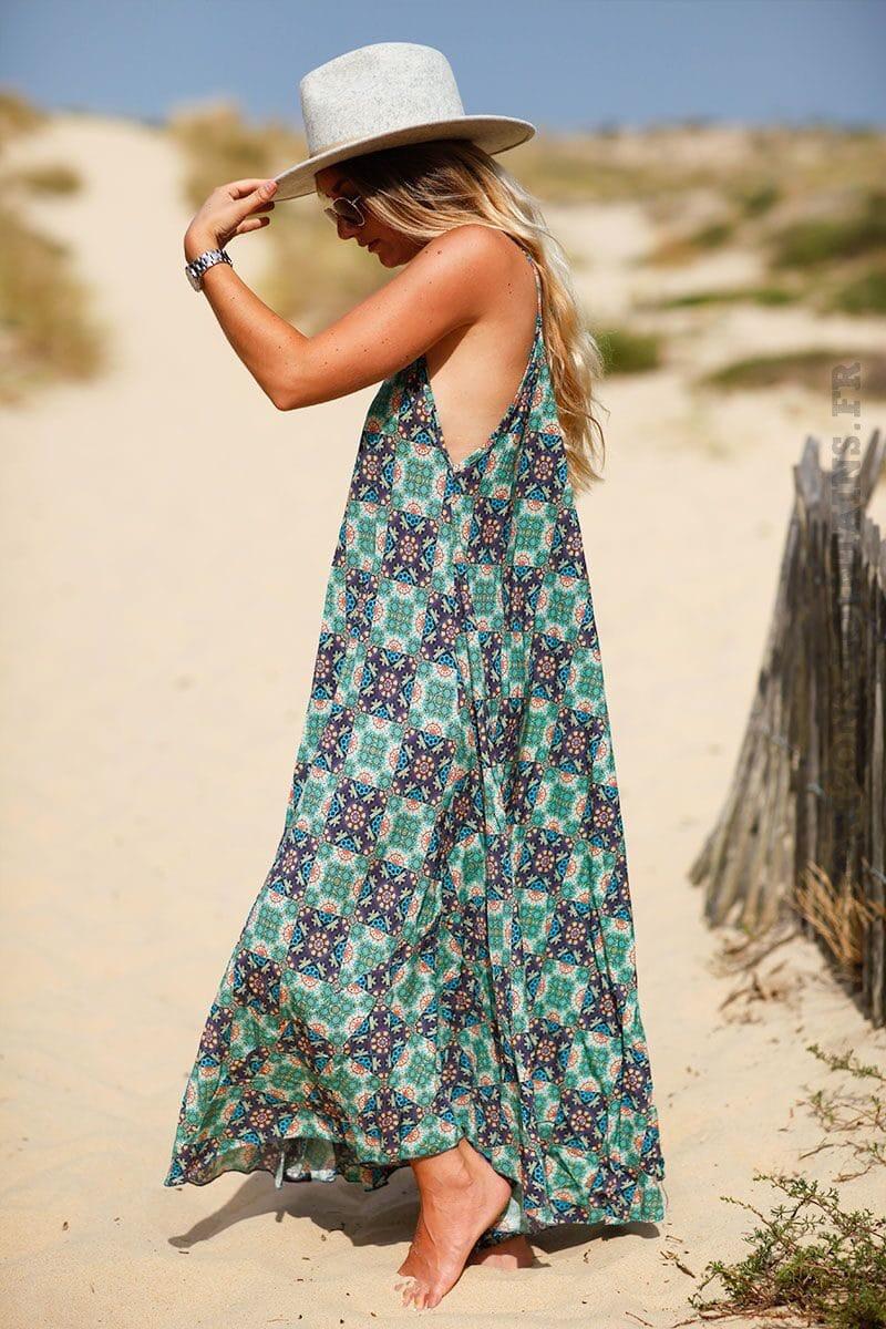 robe-longue-imprime-turquoise-C133