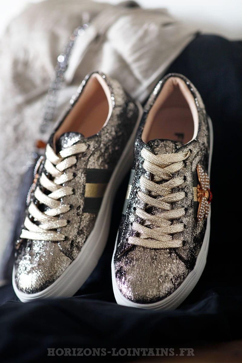 Baskets effet velours gold bande kaki