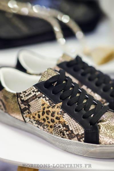 Baskets femme gold imprimé léopard python