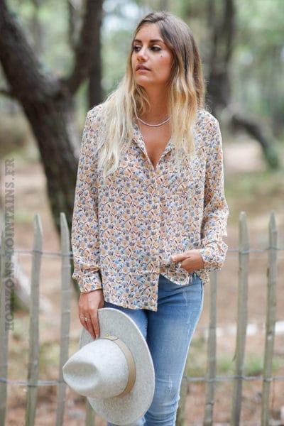 Chemise-It-Hippie-imprimé-pissenlit-camel-beige-marron-blouse-femme-C195