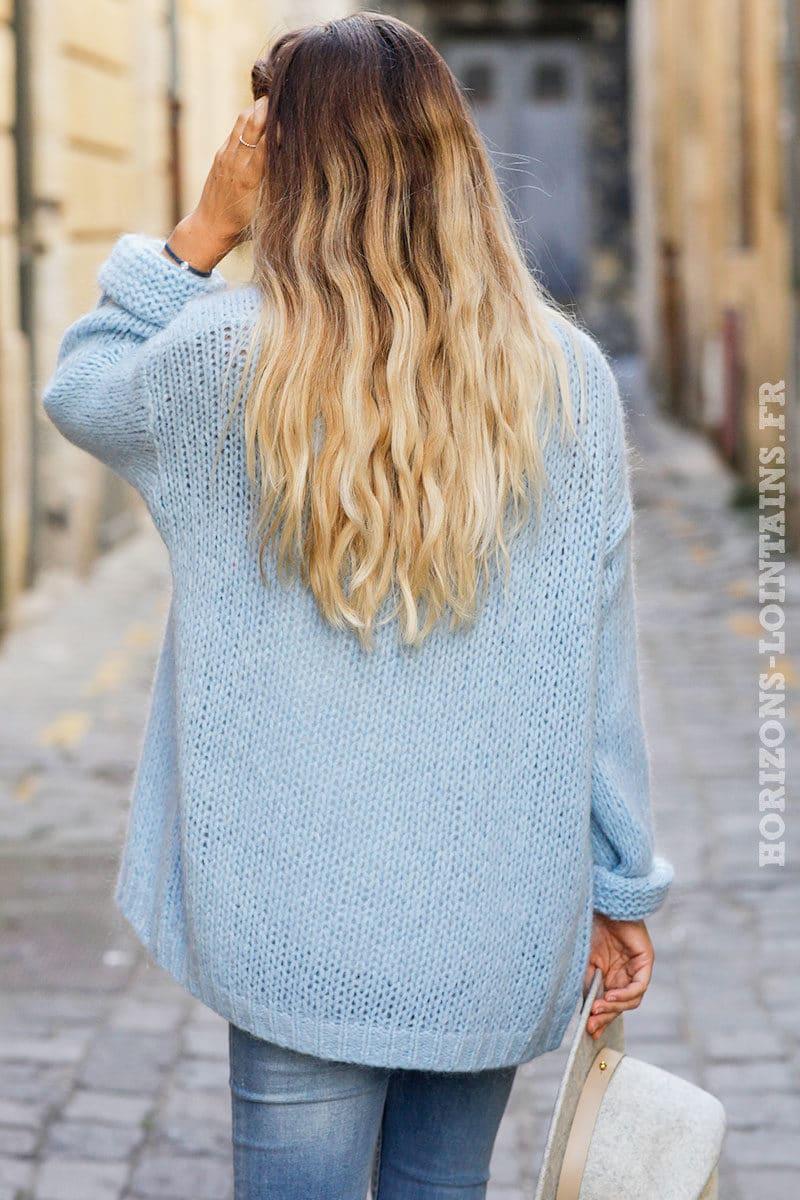 Gilet bleu ciel grosses mailles veste femme automne