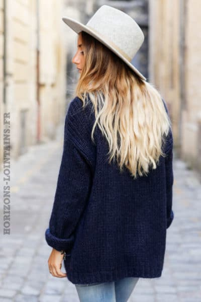 Gilet bleu marine grosses mailles veste femme automne