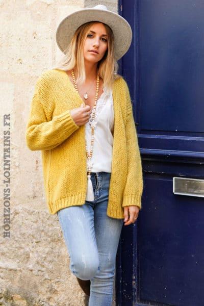 Gilet-moutarde-jaune-grosses-mailles-veste-femme-automne-look-hippie-bohème