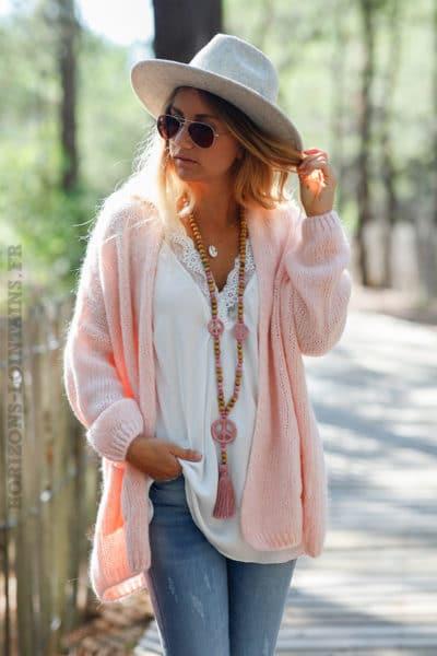Gilet-rose-pâle-col-enveloppant-avec-poches-c21