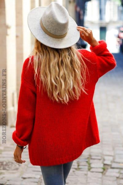 Gilet rouge grosses mailles veste femme automne
