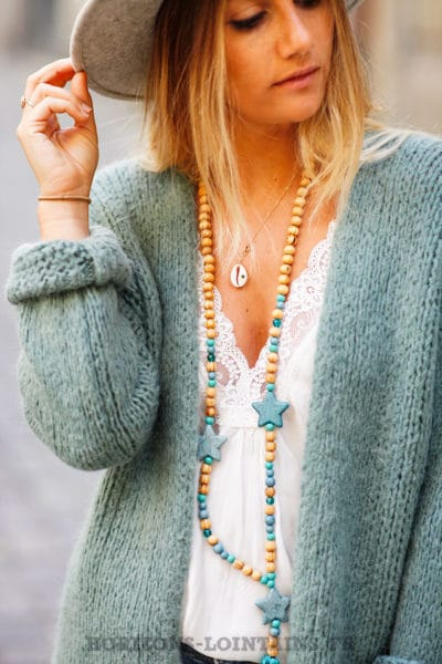 Gilet-vert-celadon-grosses-mailles-veste-femme-automne-look-bohème-hippie