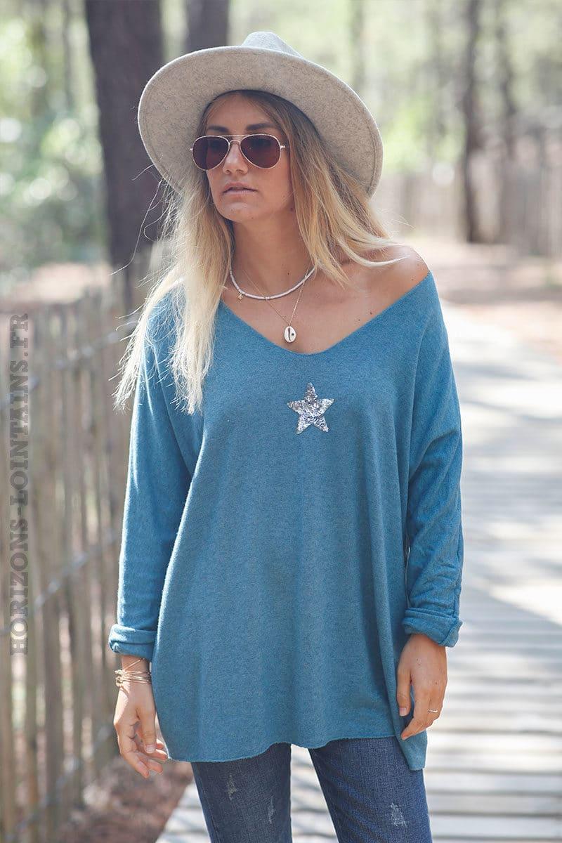 Pull-bleu-canard-col-v-petite-étoile-sequins-c176