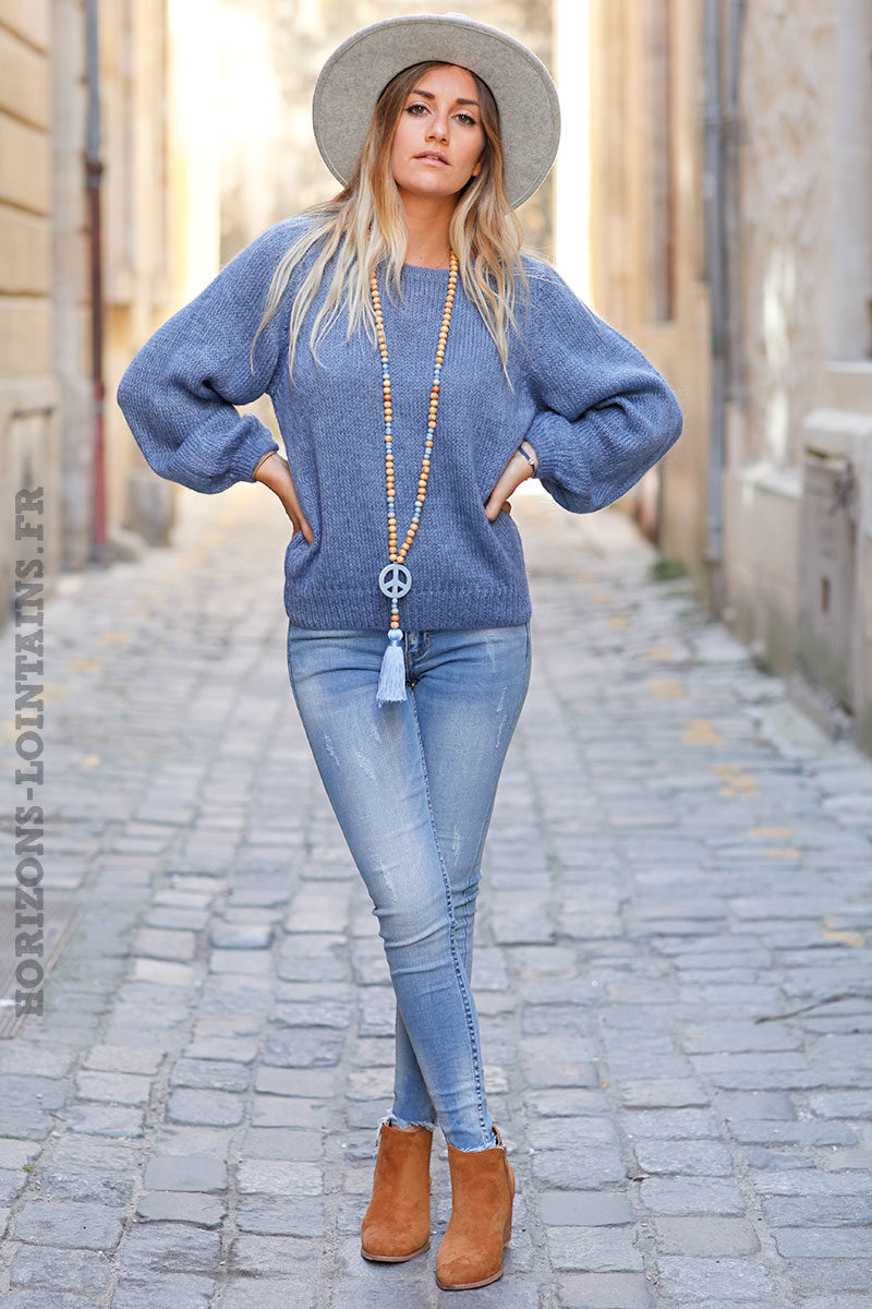 Pull-bleu-jean-col-rond-maille-mohair-top-automne-hiver-femme