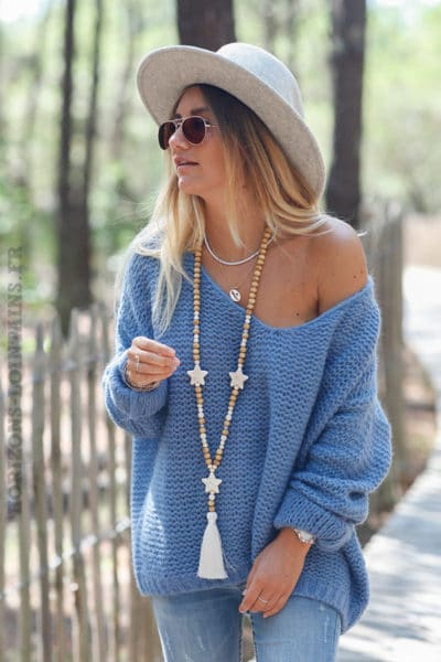Pull-bleu-jean-maille-point-mousse-c180