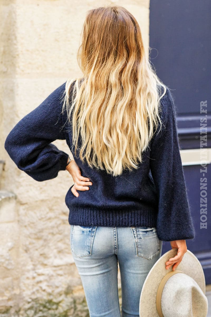 Pull-bleu-marine-col-rond-maille-mohair-top-automne-hiver-femme-C174