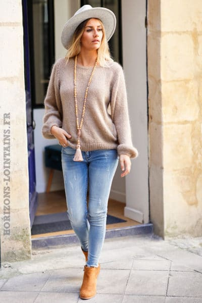 Pull-marron-glacé-clair-col-rond-maille-top-automne-hiver-femme-C174