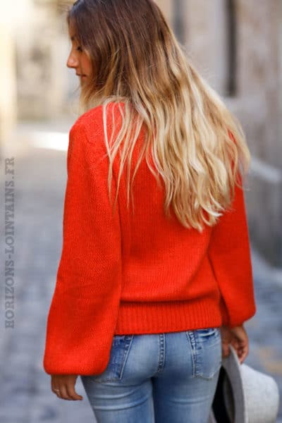 Pull-rouge-corail-col-rond-maille-mohair-top-automne-hiver-femme-C174