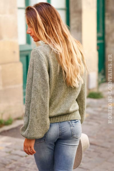 Pull-vert-kaki-col-rond-maille-mohair-top-automne-hiver-femme-C174