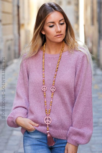 Pull-vieux-rose-col-rond-maille-mohair-top-automne-hiver-femme