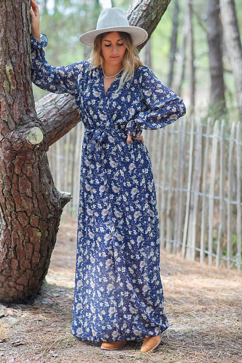 robe longue imprimée bleue