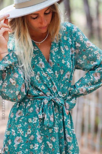 Robe-longue-vert-manches-longues-imprimé-fleuri-c145