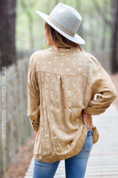 Tunique-sable-marron-clair-ample-imprimé-doré-boutons-vêtements-blouse-femme