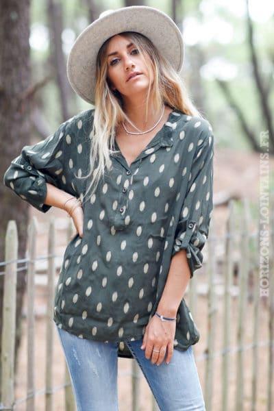 Tunique-vert-kaki-ample-imprimé-doré-boutons-vêtements-blouse-femme