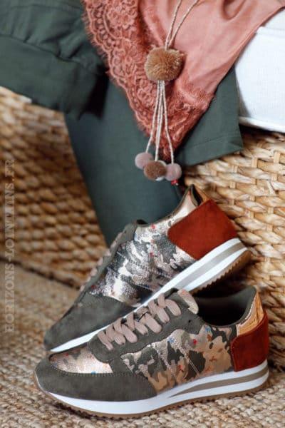baskets-running-kaki-camouflage-rose-gold-talon-suédine-marron