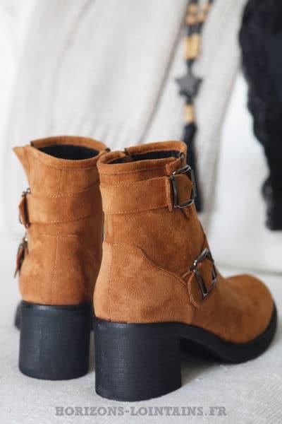 Boots camel avec deux boucles look bohème rock