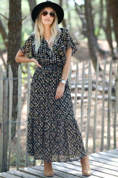 robe-longue-noire-cache-coeur-imprimé-plumes-dorées-vêtement-femme-détail-transparence