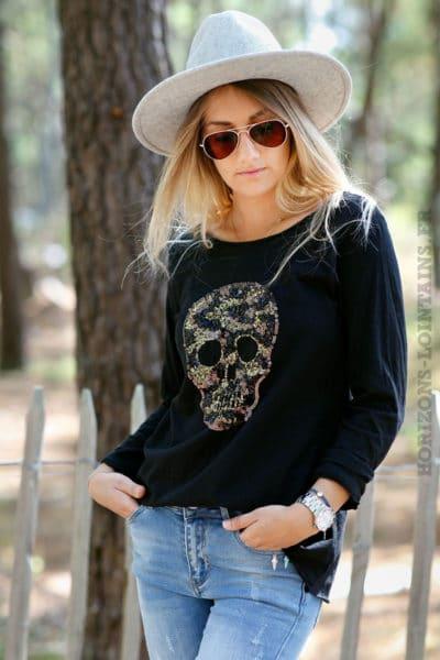 teeshirt-noir-tete-mort-mexicaine-sequins-brillants-look-rock-bohème