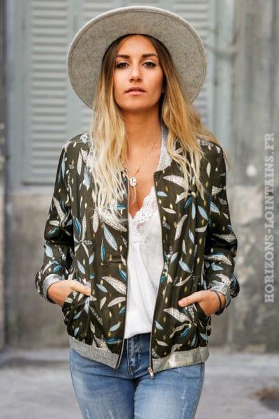 Bomber-kaki-imprimé-doré-et-feuillage-veste-légère-automne-femme-C202