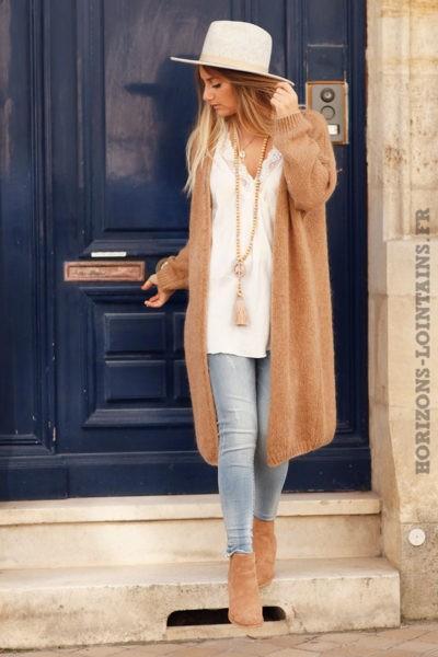 Gilet-camel-long-mailles-esprit-bohème-look-hippie-vêtement-femme