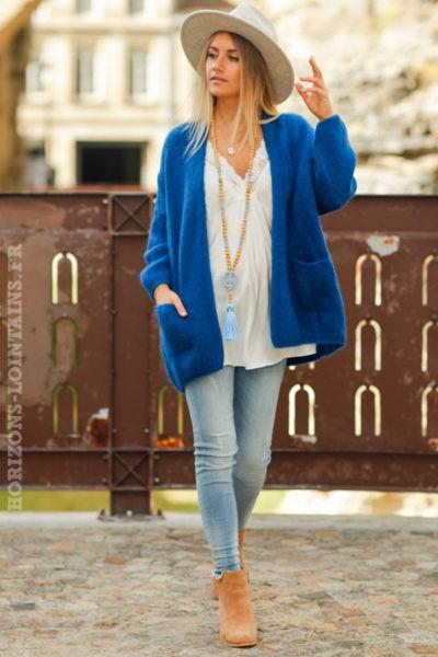 Gilet-femme-bleu-roi-col-enveloppant-poches-esprit-hippie-look-bohème