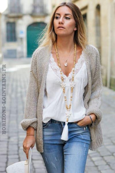Gilet taupe grosses mailles veste femme automne