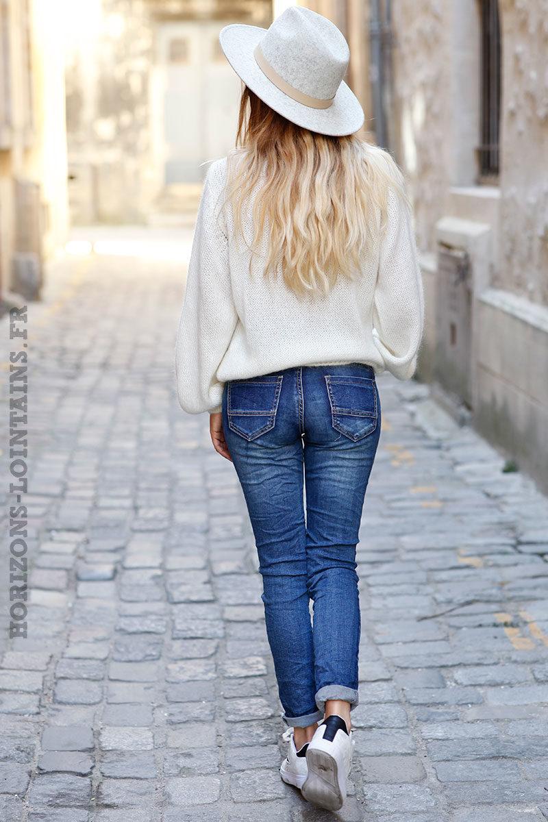 Jean-basique-délavé-moyen-pantalon-femme-détail