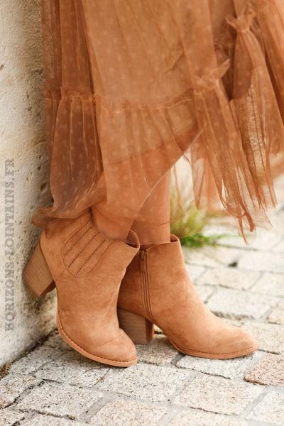 Low boots taupe en suédine