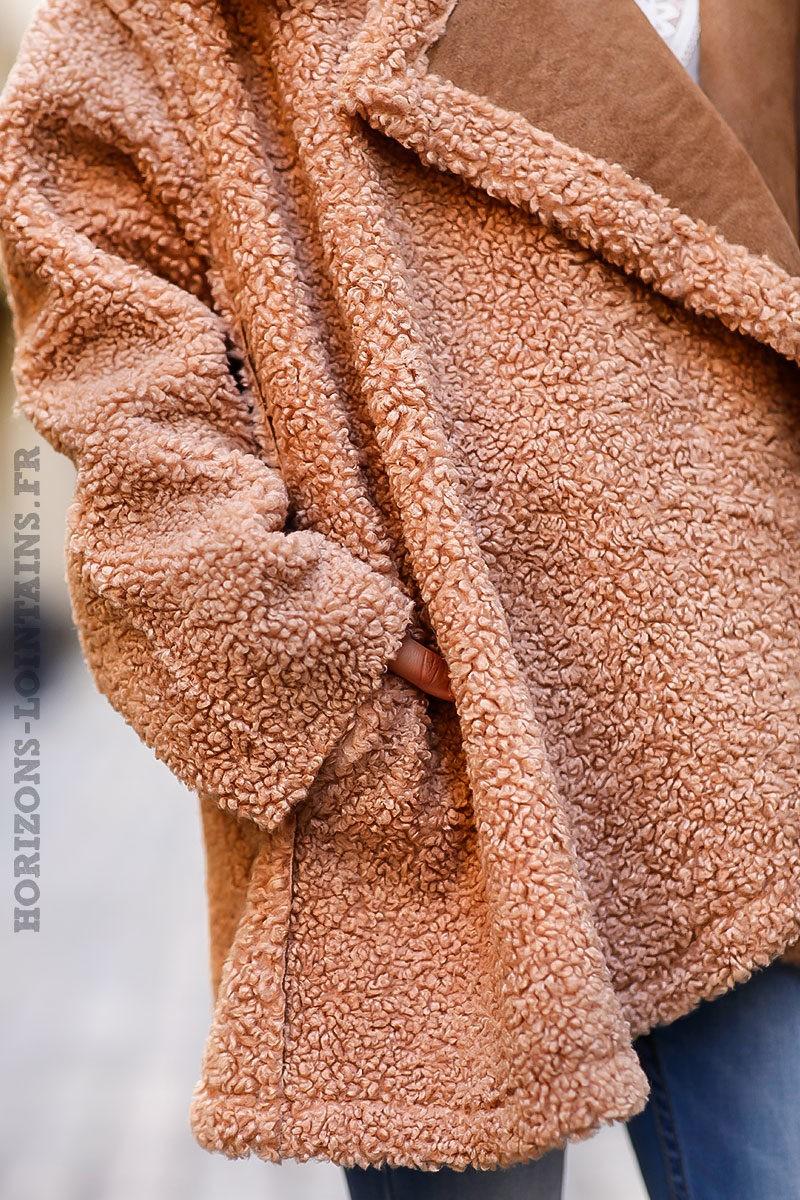 Manteau-camel-bimatière-effet-peau-fausse-fourure-manteaux-marron-femme