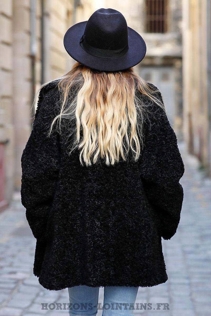 Manteau-noir-bimatière-effet-peau-fausse-fourure-manteaux-femme
