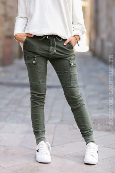 Pantalon-cargo-kaki-avec-ceinture-élastique--c34