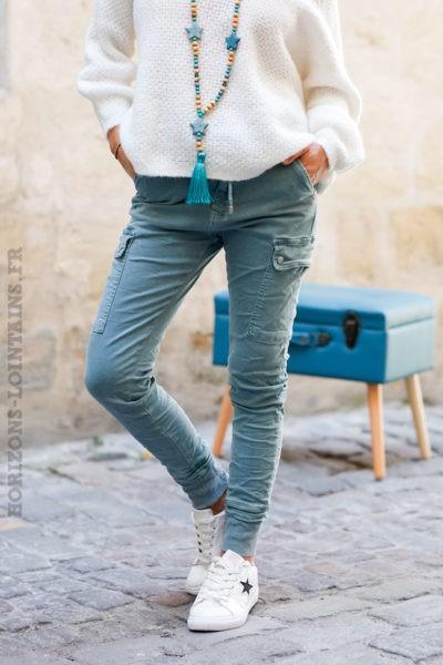 Pantalon-cargo-vert-céladon-avec-ceinture-élastique--c34