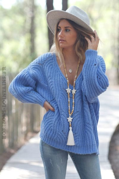 Pull-bleu-lavande-mailles-torsades-ajourées-c202