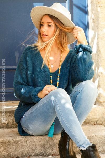 Pull-bleu-petrole-mohair-étoile-strass-dos-esprit-bohème-look-hippie-vêtements-femmes