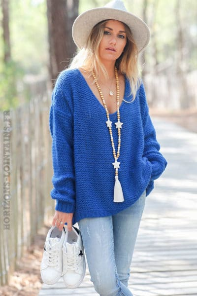 Pull-bleu-roi-maille-point-mousse-c180